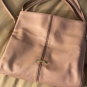 Ann Klein pink leather pocket book w/3 sections.